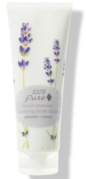 This lavender body cream by 100% Pure is scented with pure essential oils
