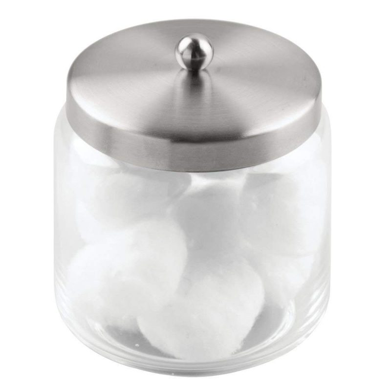 Glass cotton ball container