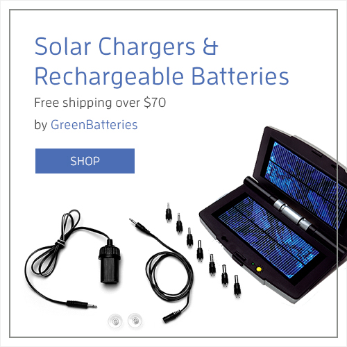 Solar Chargers & Rechargeable Batteries by Green Batteries