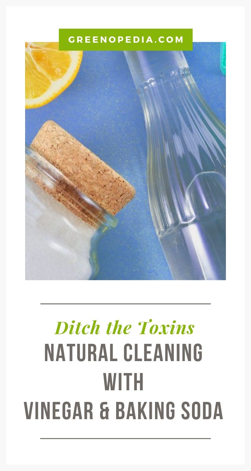 Forget Storing 20 Cleaners Under The Kitchen Sink - You Only Need Two | White vinegar and baking soda are natural cleaners for just about everything in your home. They are as effective as chemicals... but without the toxins. | Greenopedia #naturalcleaners #nontoxiccleaners via @greenopedia
