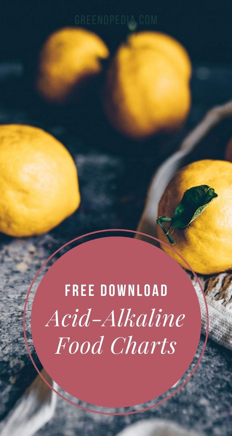 Alkaline-Acid Food Charts to Help Balance Your pH | The foods we eat can either help or hinder our body's efforts to keep our blood pH at the optimal level. Use these alkaline-acid food charts as a guide. | Greenopedia #alkalineacidfoodcharts #alkalinefoods #acidicfoods #alkalineformingfoods #acidformingfoods via @greenopedia