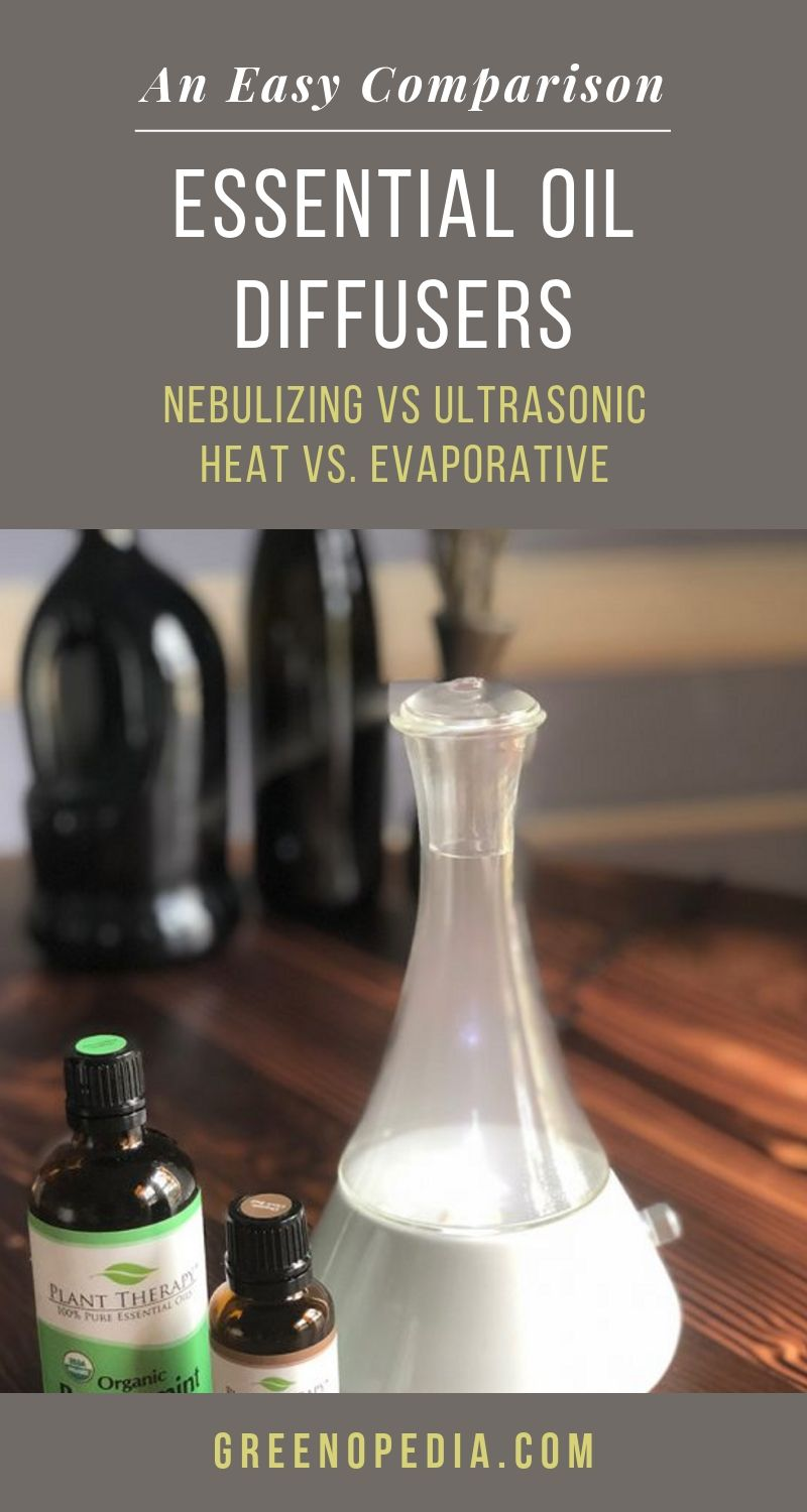 Your Easy Guide to Essential Oil Diffusers: Nebulizing or Ultrasonic? Heat or Evaporative? Let's compare. | The benefits of aromatherapy are pretty amazing... especially with the right essential oil diffuser. We summarize and compare each type, so you have the info you need to choose. | Greenopedia #essentialoildiffusers #aromatherapy #diffuseessentialoils #nebulizingdiffuser #ultrasonicdiffuser via @greenopedia