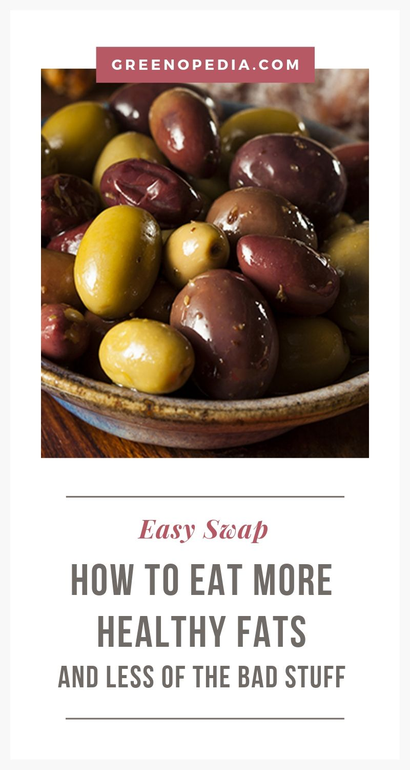 How to Make the Switch from Bad Fats to Heart-Healthy Fats   Even when we're dieting, we don't want to remove fat from our diet altogether. Instead, we want to replace bad fats with heart-healthy fats, wherever we can.   Greenopedia #healthyfats #goodfats via @greenopedia