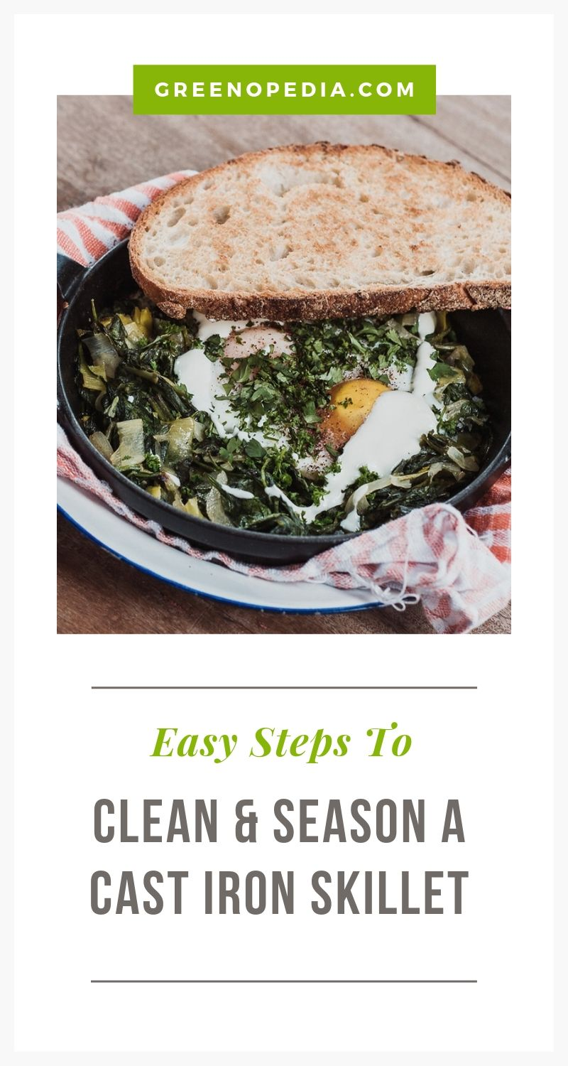 How to Clean and Season Your Cast Iron Skillet   Caring for cast iron is different than other cookware you may own and can take some getting used to. Here's how to clean & season your cast iron skillet.   Greenopedia #cleancastiron #seasoncastiron #castironskillet via @greenopedia