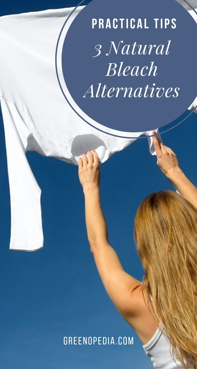 Toxin-Free Laundry: Natural Bleach Alternatives to Harsh Chlorine | The harsh fumes from chlorine are dangerous to inhale and can lead to serious respiratory issues over time. Natural bleach alternatives whiten laundry without toxic chemicals. | Greenopedia #naturalbleachalternative #oxygenbleach #naturalwhitening #whitennaturally #nontoxicbleachalternative #chlorinefreebleach #sunbleaching via @greenopedia