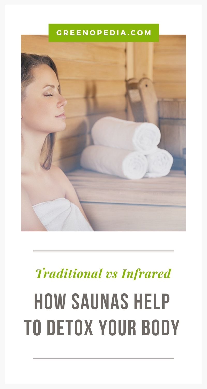 How Saunas Help to Detox Your Body... and How To Choose One For Your Home | Saunas help to detoxify our body... but not really through sweat. It's that heating the body boosts natural detoxification efforts by our liver & kidneys. | Greenopedia #saunadetoxification #saunadetox #infraredsauna via @greenopedia