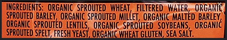 Sprouted grains - Ezekiel bread ingredients label