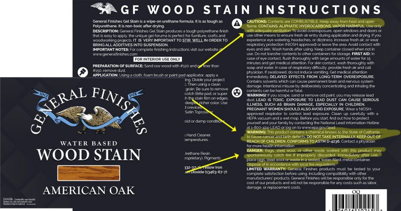 Toxins in wood stains